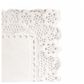 Dentelles rectangulaires  blanches 21x15 cm  .  colis de 1000  . ref 301.31