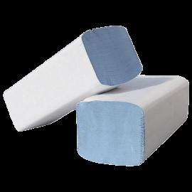 Essuie- main ,pliage w, 21.5 x 35 cm  , 2 plis bleu .colis de 3000.  ref 750100